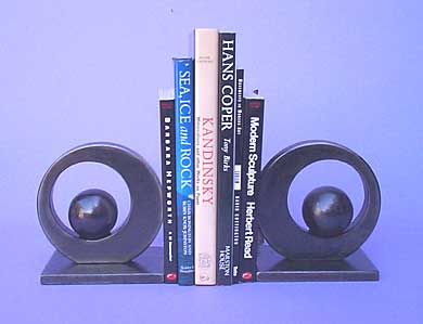 bookends in a modern design in steel