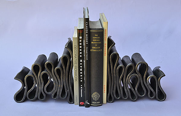 pair of bookends hand forged in metal