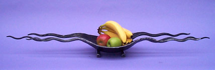 stylish modern fruit bowl, hand made in metal