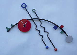 funky modern wall hanging clock in the style of Wassilly Kandinsky