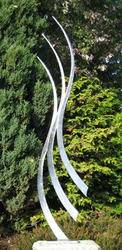garden sculpture in stainless steel in a contemporary style