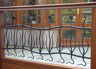 metal railings in a modern design for country cottage
